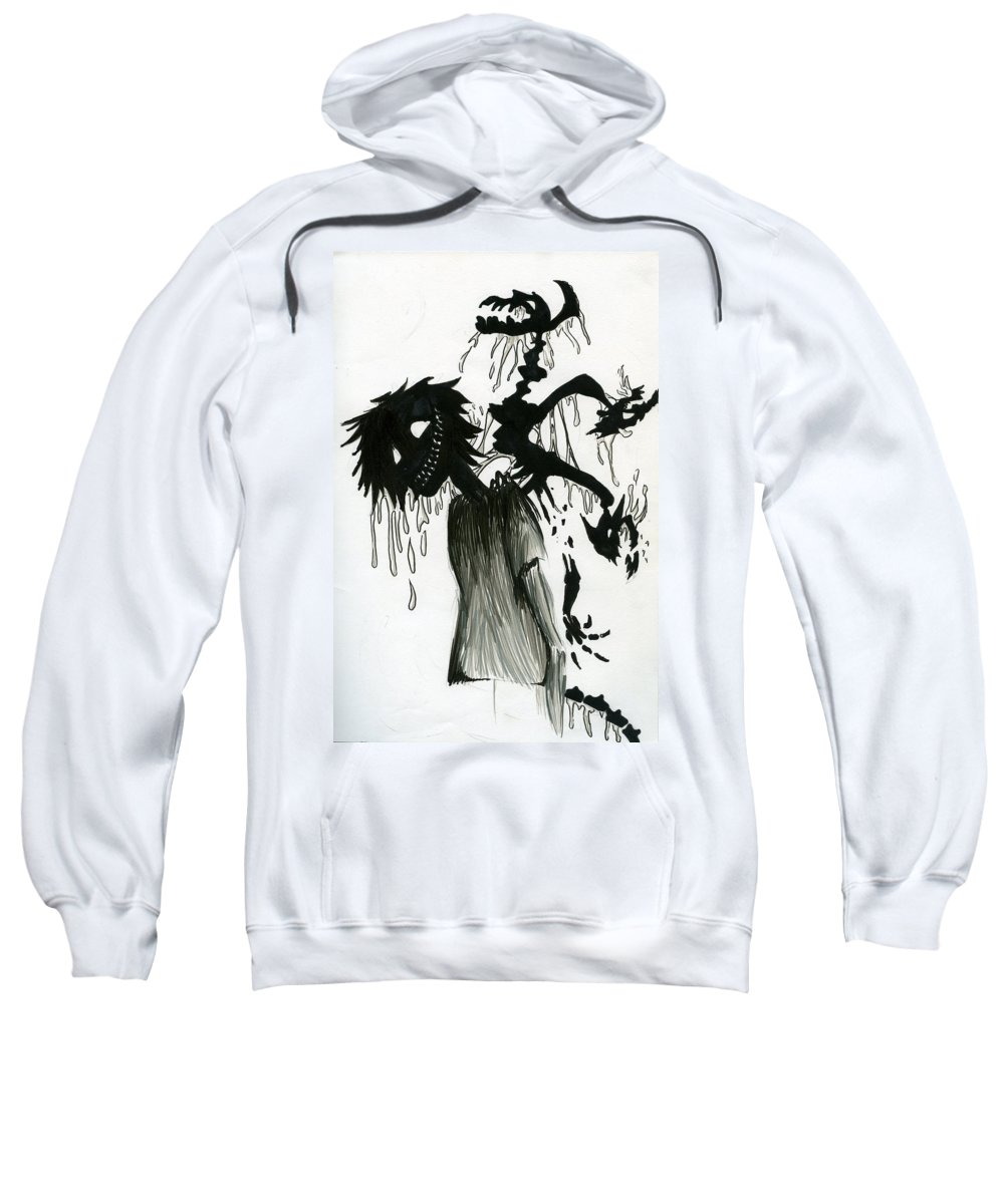 Demon Sweatshirt featuring the drawing Creep by Kita Liosatos