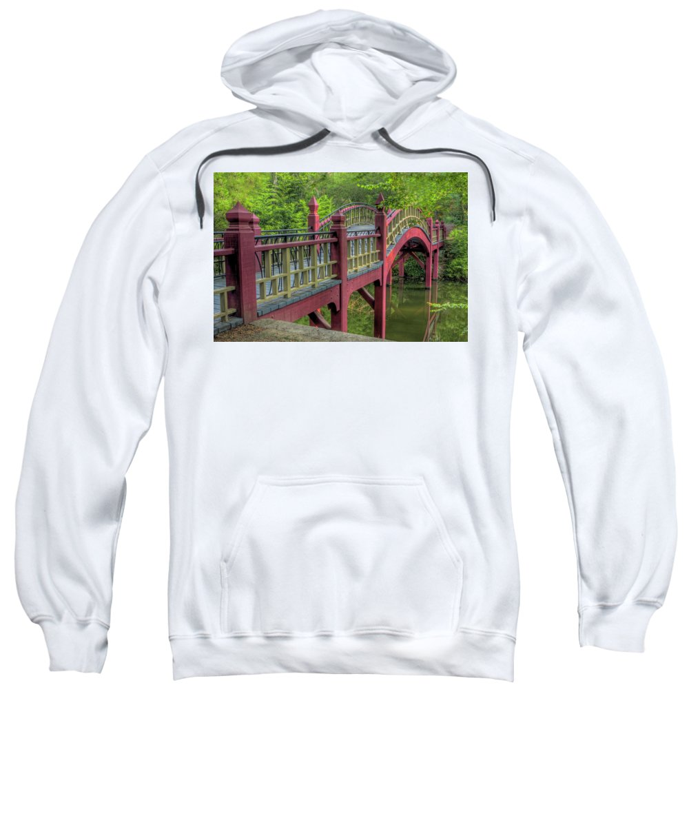 Crim Dell Sweatshirt featuring the photograph Crim Dell Bridge Summer by Jerry Gammon