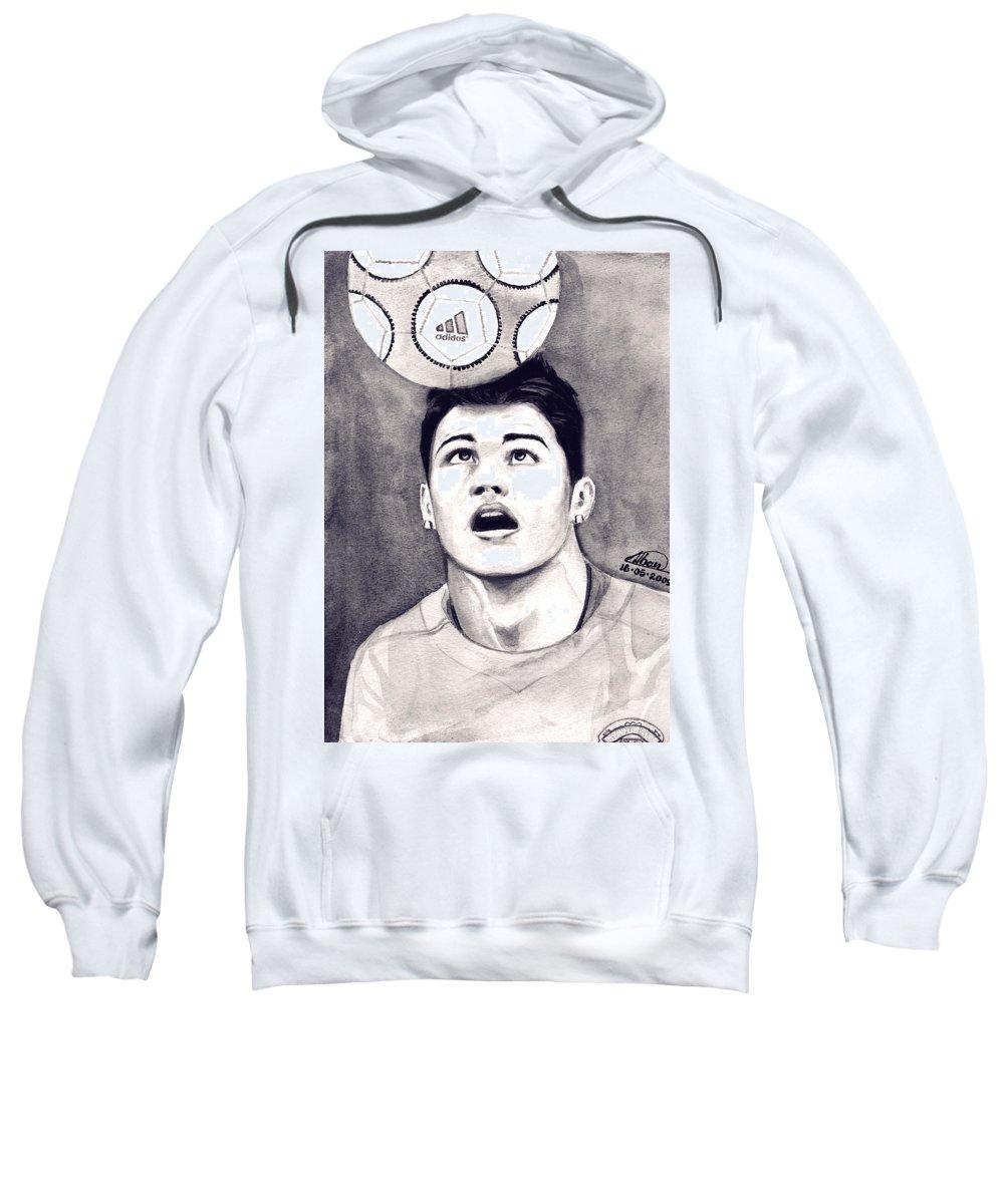 Ronaldo Portrait Sweatshirt featuring the painting Cristiano Ronaldo by Alban Dizdari