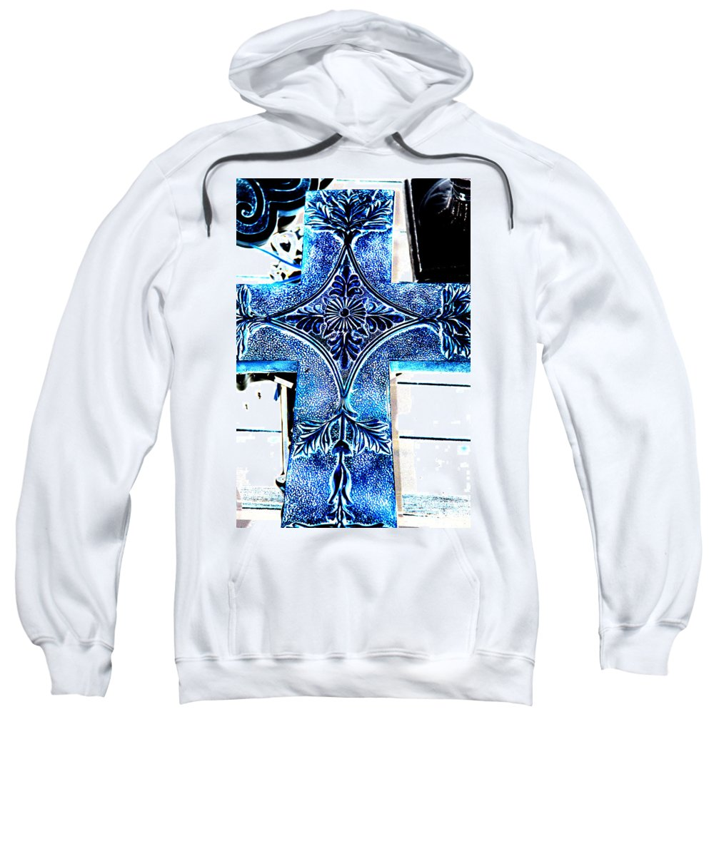 Photography Sweatshirt featuring the photograph Cross In Blue by Susanne Van Hulst