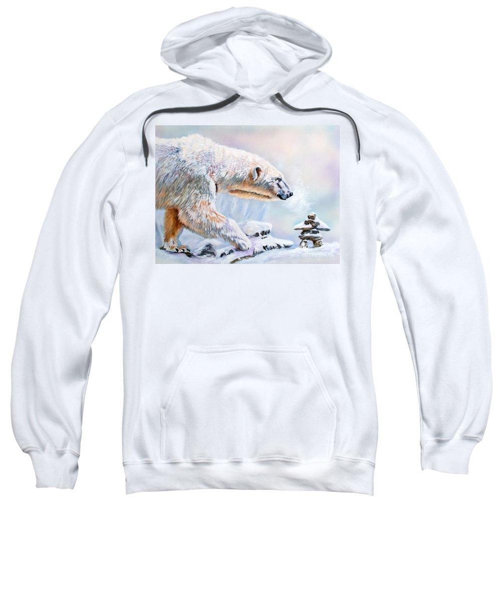 Polar Bear Sweatshirt featuring the painting Crossroads by J W Baker