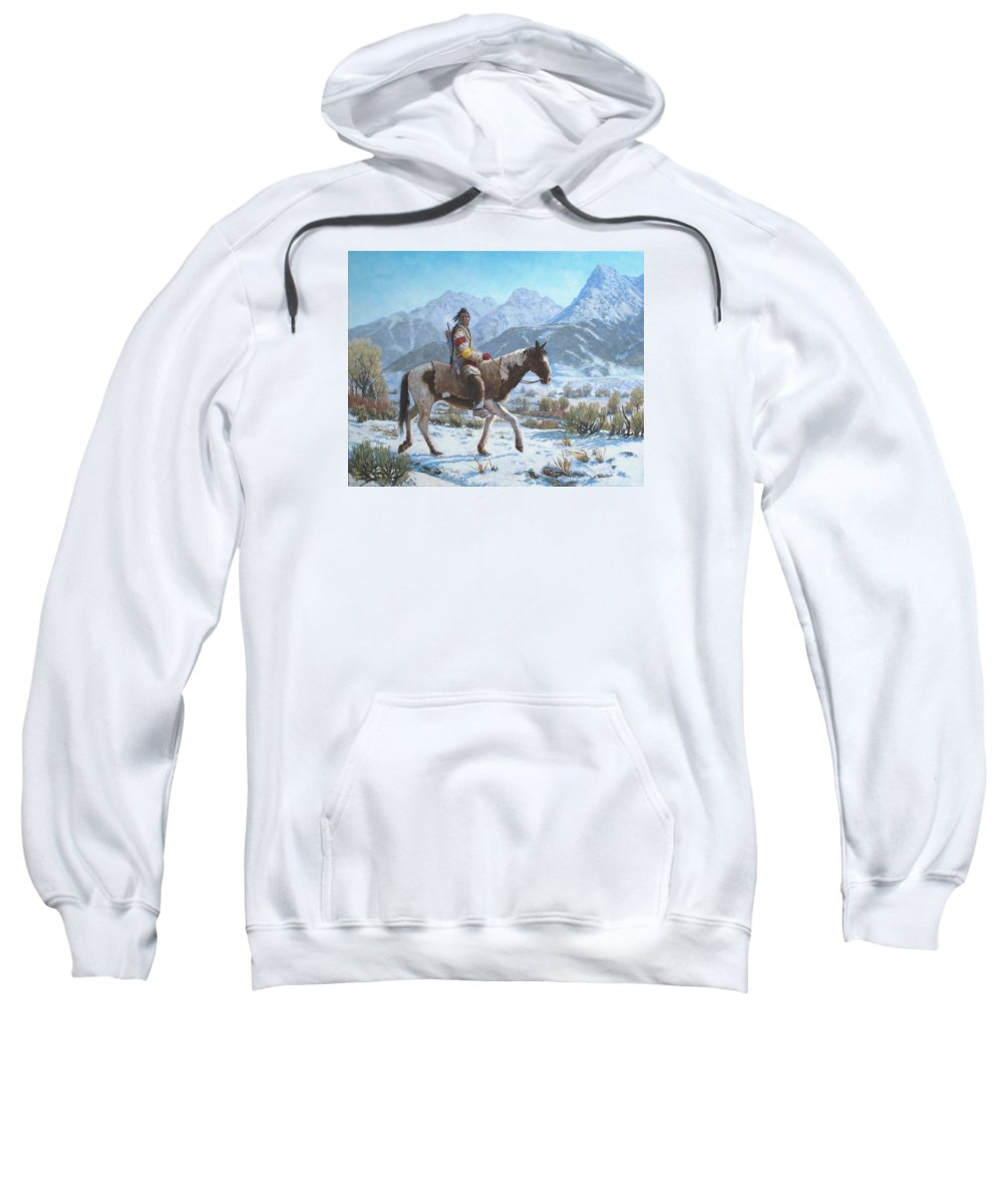 Crow Warrior Sweatshirt featuring the painting Crow on the Yellowstone river by Scott Robertson