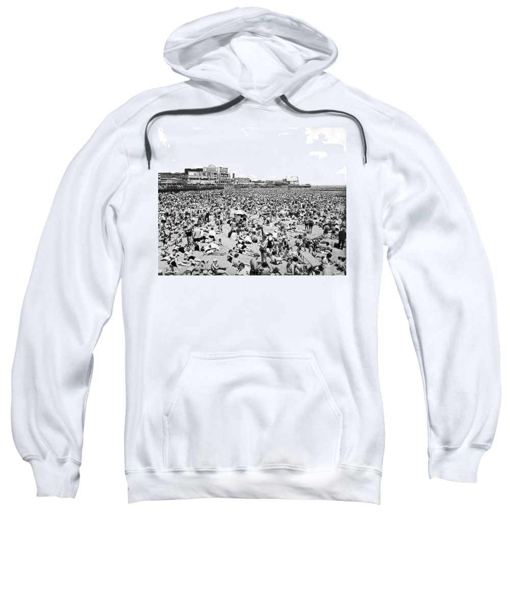 1930s Sweatshirt featuring the photograph Crowds At Coney Island Beach by Underwood & Underwood