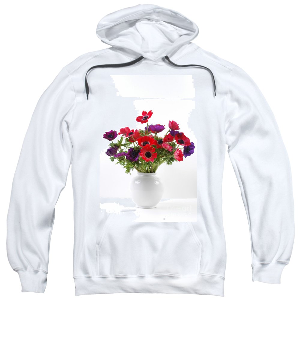 Flower Sweatshirt featuring the photograph crown Anemone in a white vase by Ilan Amihai