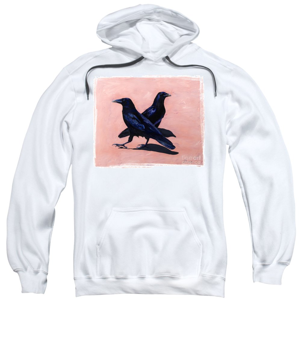 Crows Sweatshirt featuring the painting Crows by Sandi Baker