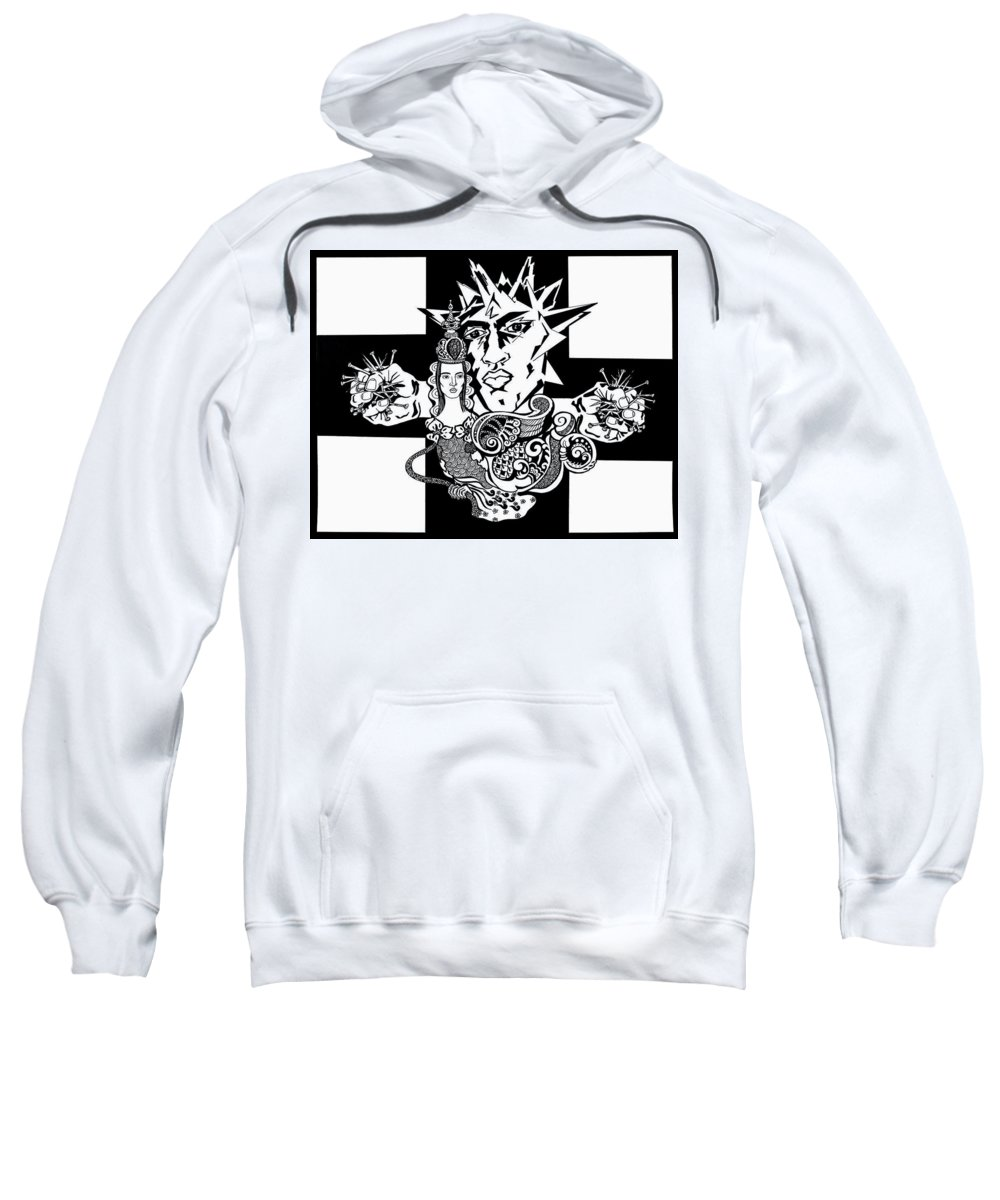 People Sweatshirt featuring the drawing Crucifixion by Yelena Tylkina