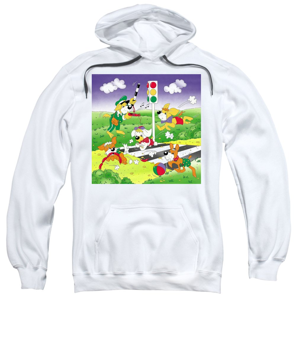 Cute Sweatshirt featuring the mixed media Cute Animals Crossing The Street by Patrick Hoenderkamp