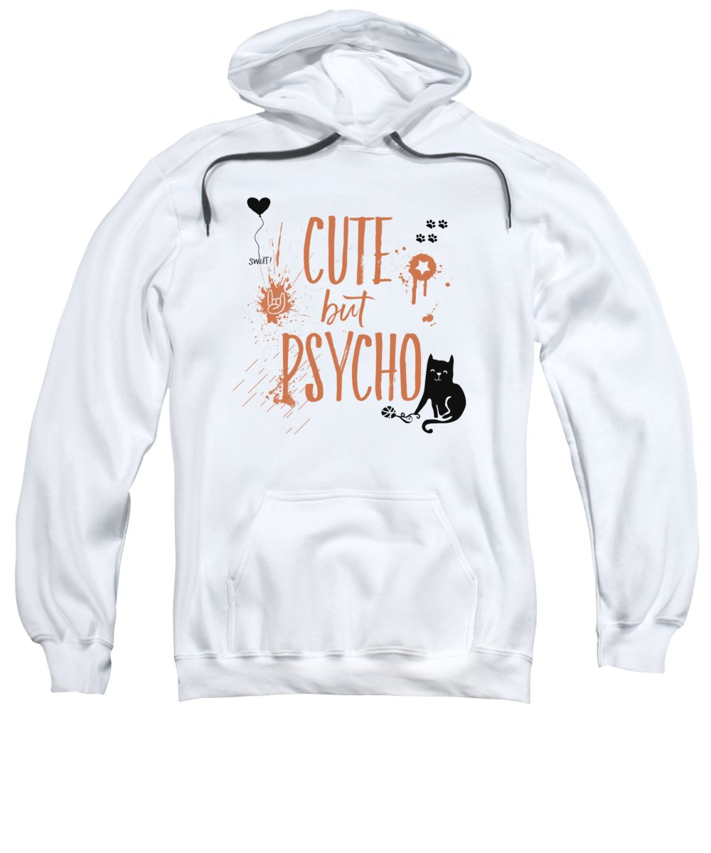 Abstract Sweatshirt featuring the digital art Cute But Psycho Cat by Melanie Viola