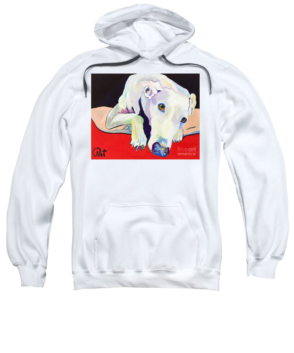 Animals Pets Greyhound Sweatshirt featuring the painting Cyrus by Pat Saunders-White