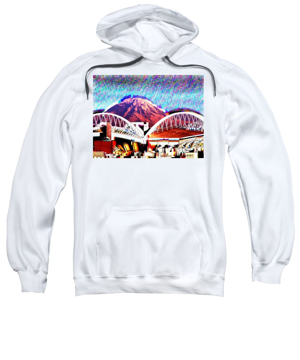 Seattle Sweatshirt featuring the photograph Da Mountain And Stadia 2 by Tim Allen