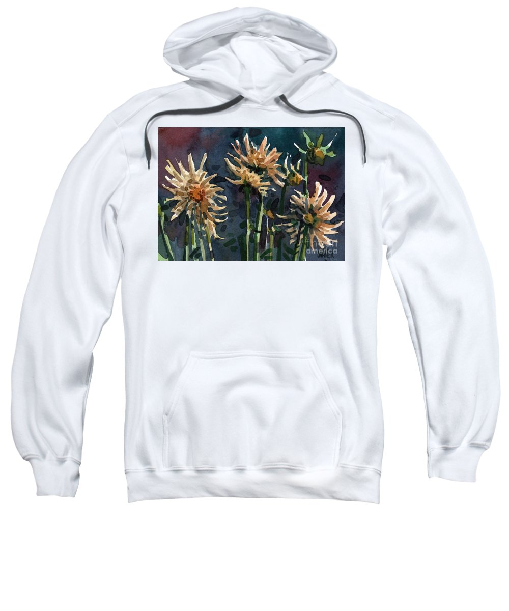 Floral Sweatshirt featuring the painting Dahlias by Donald Maier
