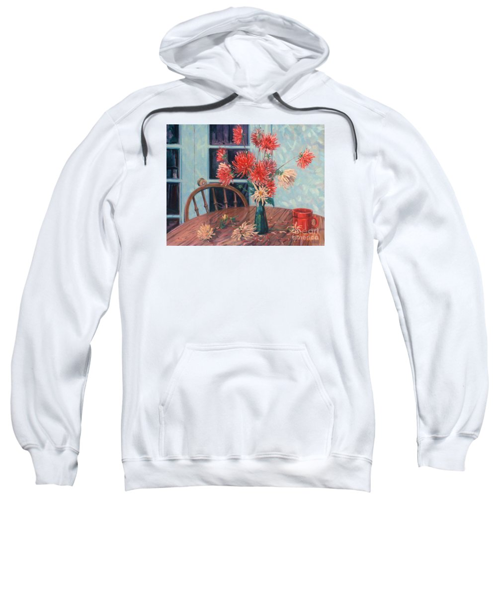 Still Life Sweatshirt featuring the painting Dahlias With Red Cup by Donald Maier