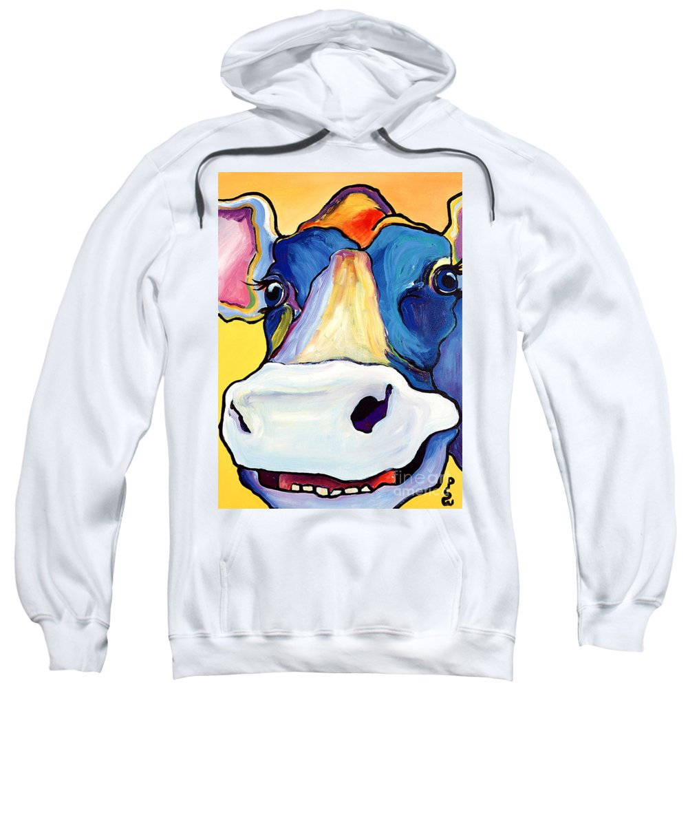Cow Print Sweatshirt featuring the painting Dairy Queen I  by Pat Saunders-White