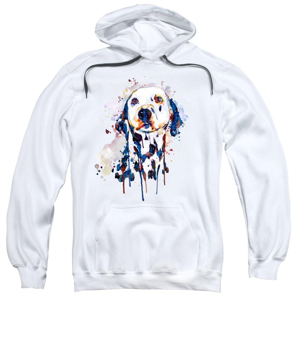Dalmatian Sweatshirt featuring the painting Dalmatian Head by Marian Voicu