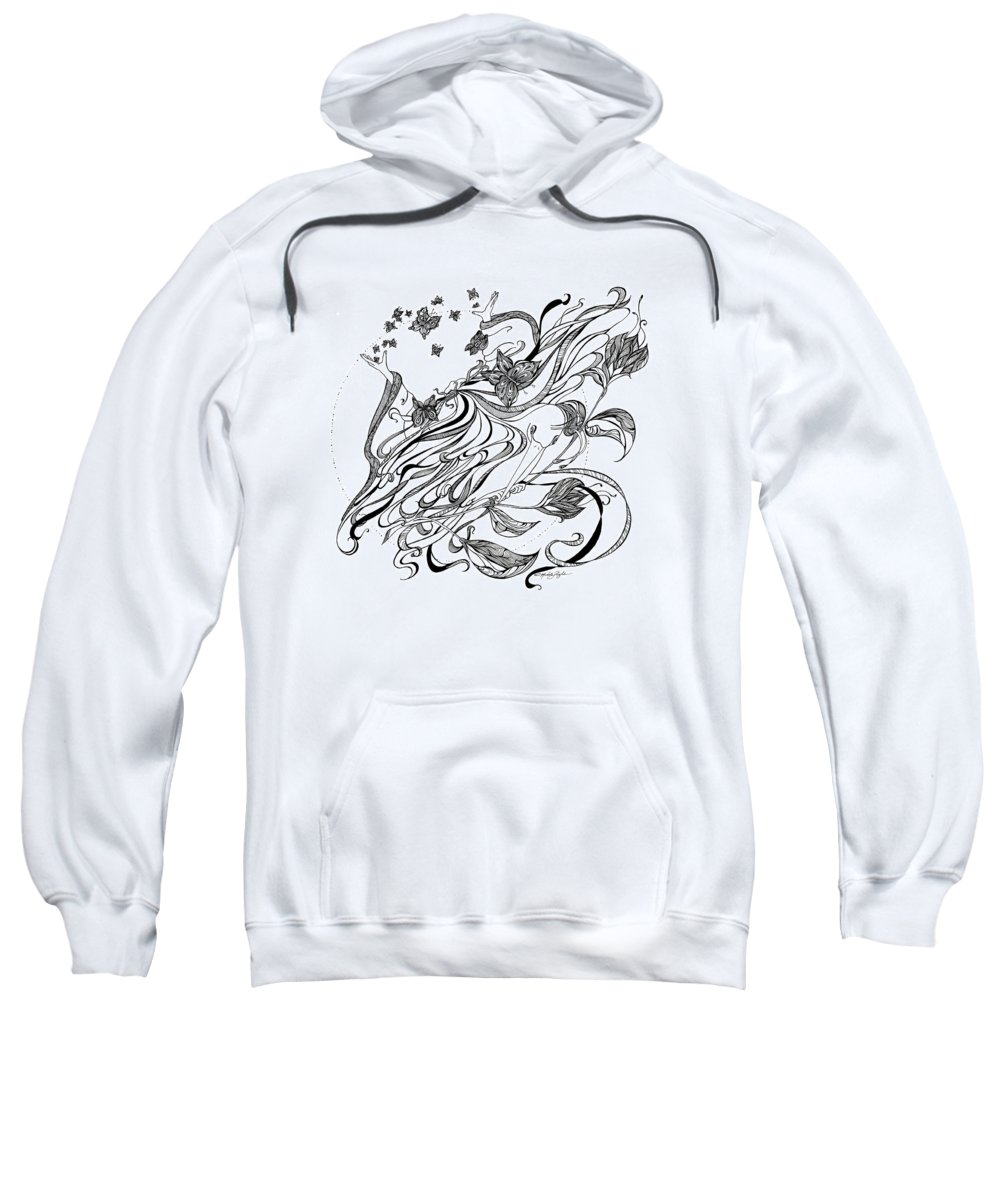 Black And White Sweatshirt featuring the drawing Damia by Michele Sleight