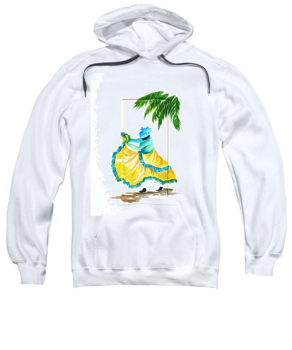 Dance Folk Caribbean Tropical Sweatshirt featuring the painting Dance de Belaire by Karin Dawn Kelshall- Best