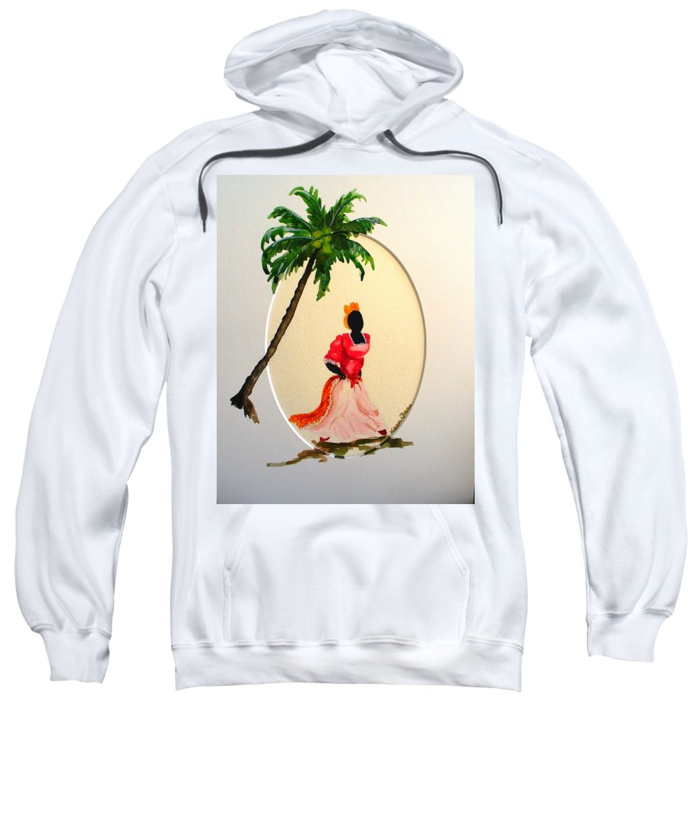 Caribbean Dancer Sweatshirt featuring the painting Dancer 1 by Karin Dawn Kelshall- Best
