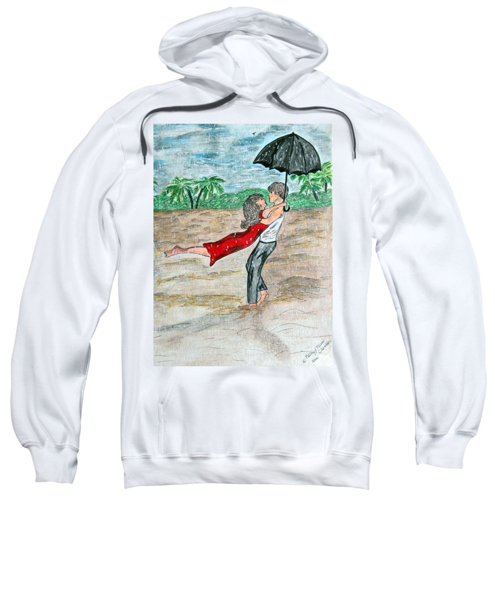 Dancing Sweatshirt featuring the painting Dancing In The Rain On The Beach by Kathy Marrs Chandler