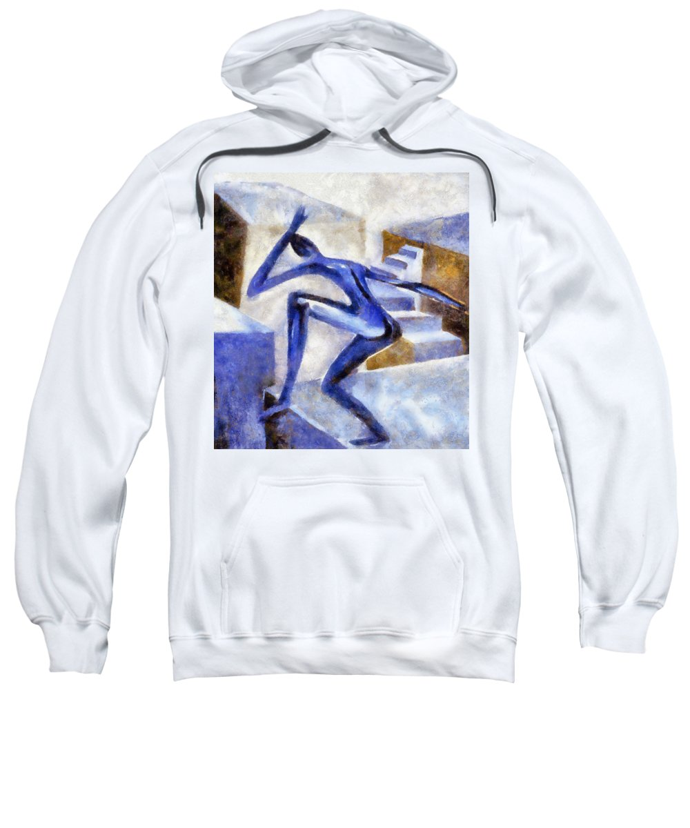 Conceptual Sweatshirt featuring the painting Dancing Off the Edge of the World by Michelle Calkins