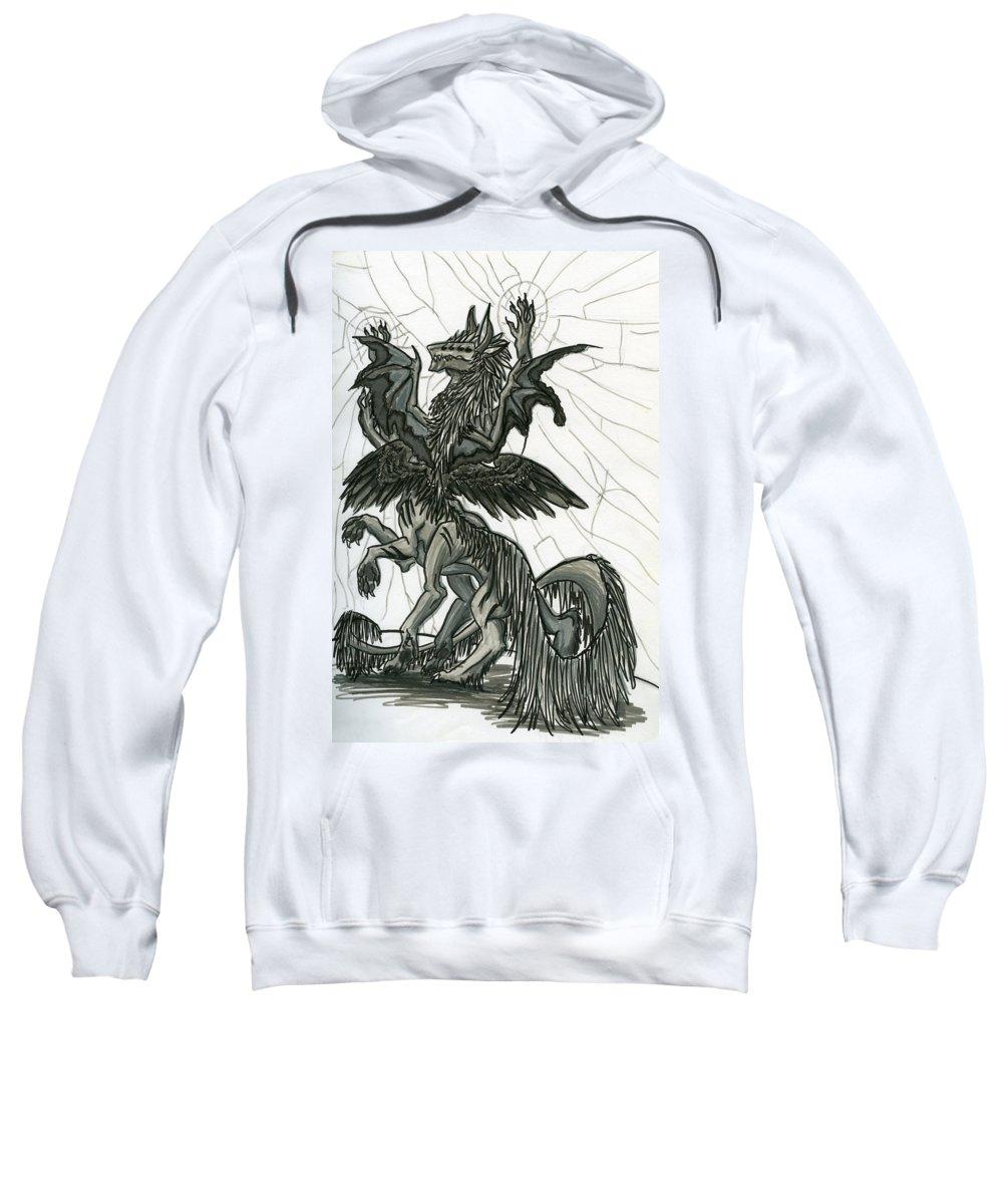 Dragon Sweatshirt featuring the drawing Danger by Kita Liosatos