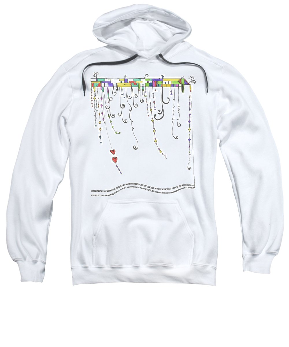 Sweatshirt featuring the drawing Dangles by Kelly Pratt