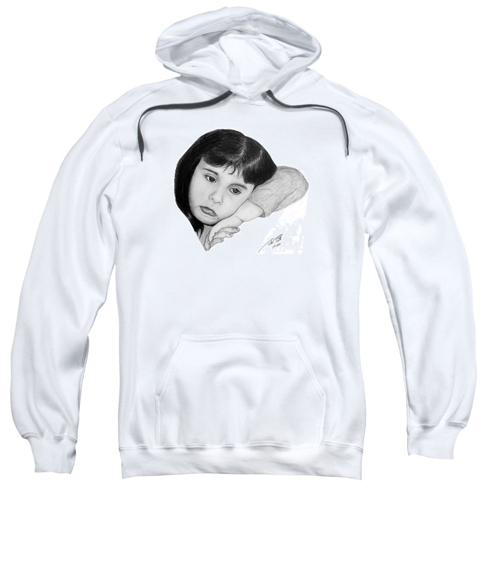 Portrait Sketch Sweatshirt featuring the drawing Dannie by Peter Piatt