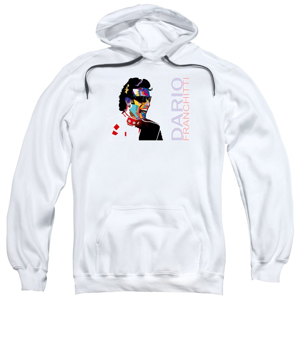 Racing Sweatshirt featuring the digital art Dario Franchitti Pop Art Style by Jim Bryson