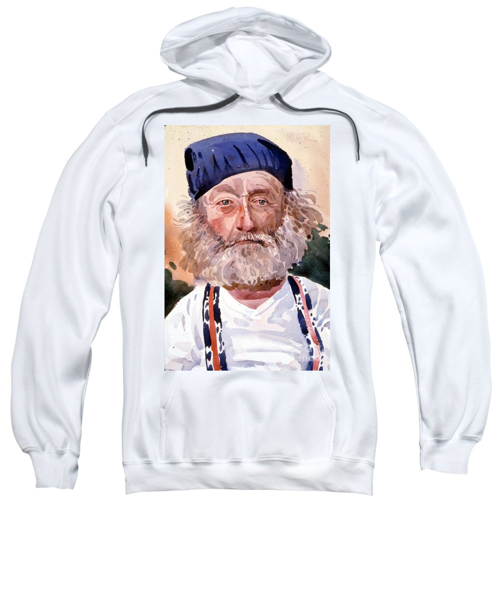 Portrail Sweatshirt featuring the painting David by Donald Maier