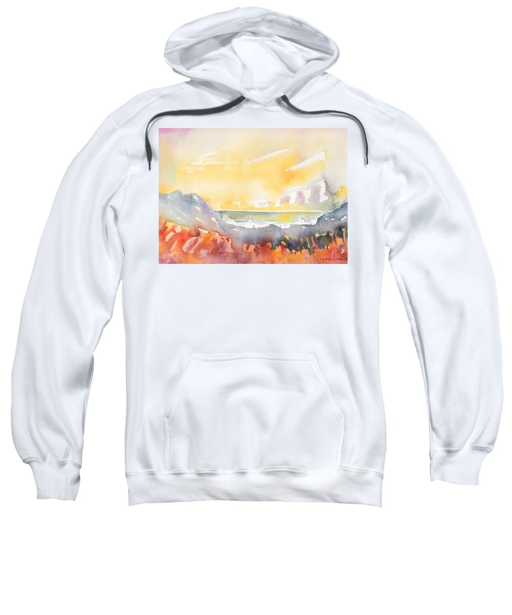 Landscapes Sweatshirt featuring the painting Dawn 21 by Miki De Goodaboom