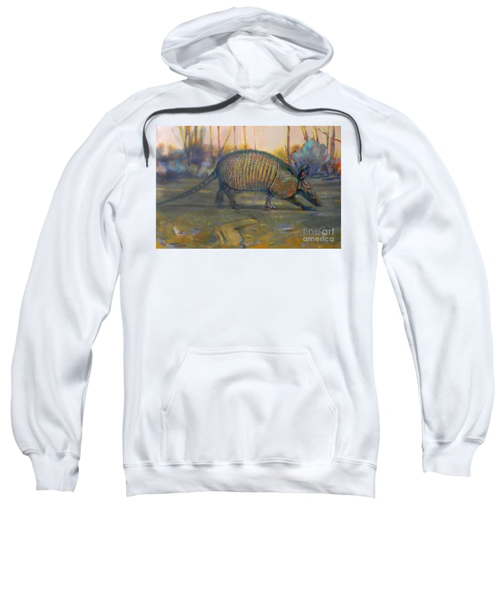 Armadillo Sweatshirt featuring the painting Dawn Run by Donald Maier