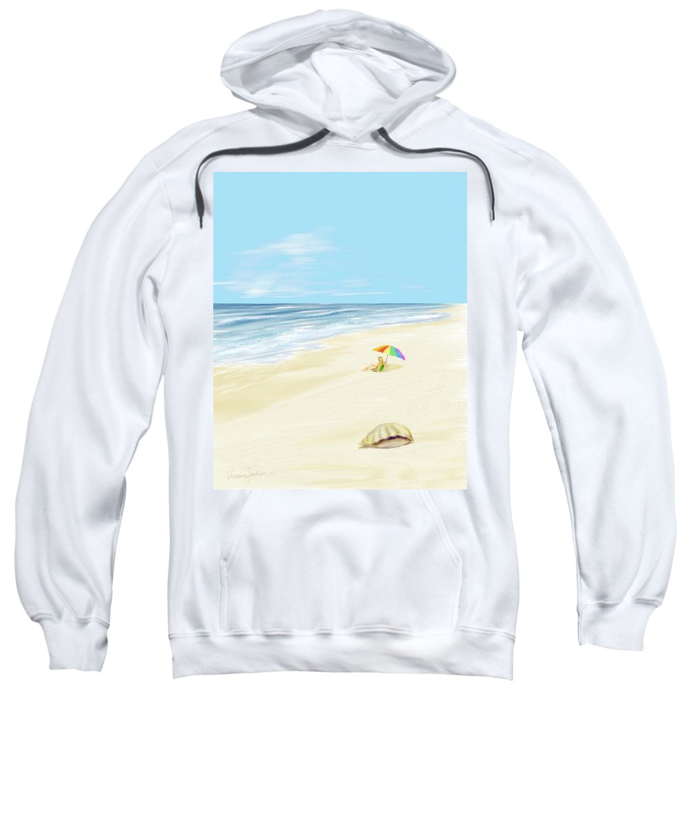 Beach Summer Sun Sand Waves Shells Sweatshirt featuring the digital art Day At The Beach by Veronica Jackson