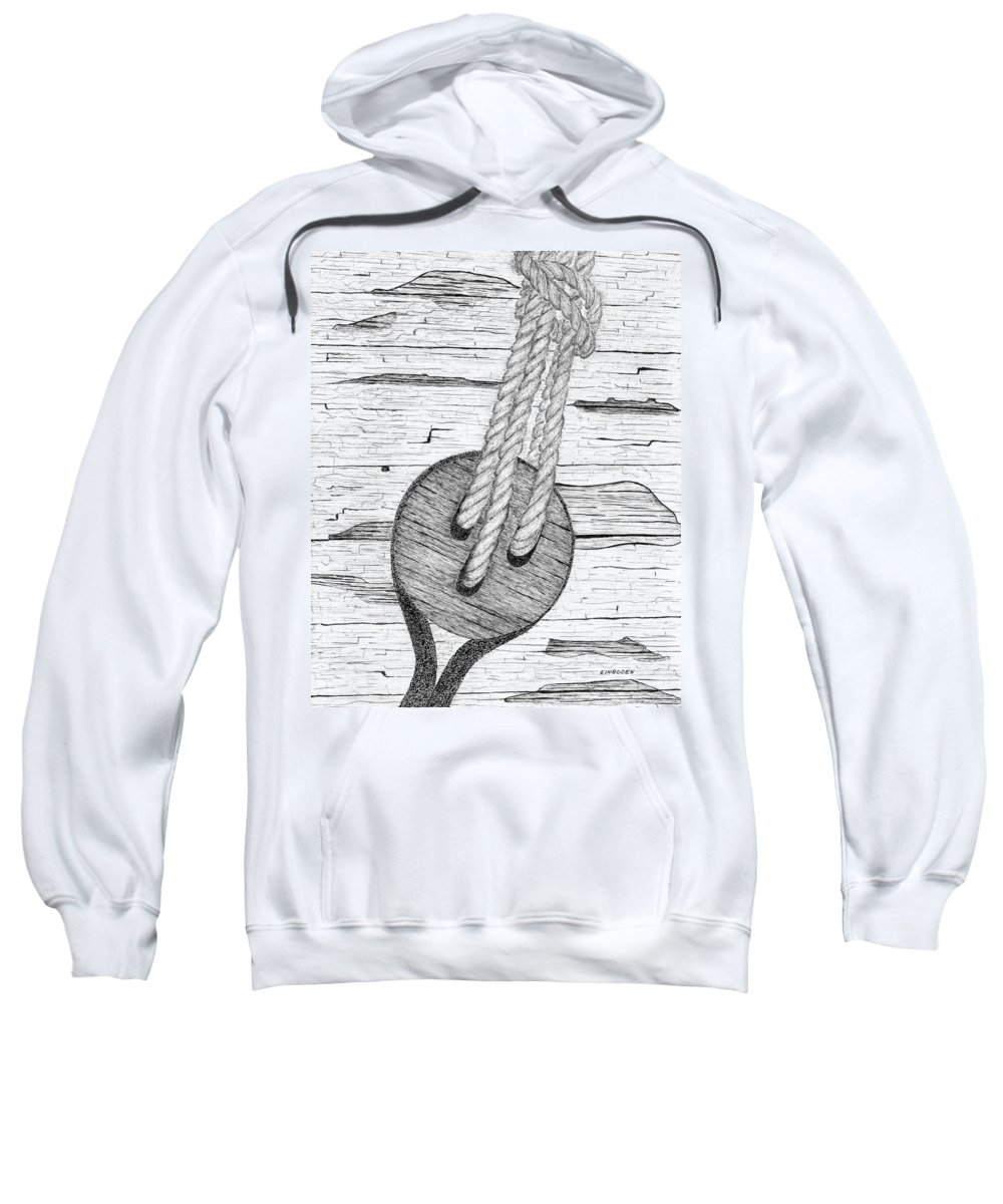 Ships Rigging. Tall Ships Sweatshirt featuring the drawing Dead Eye by Ed Einboden