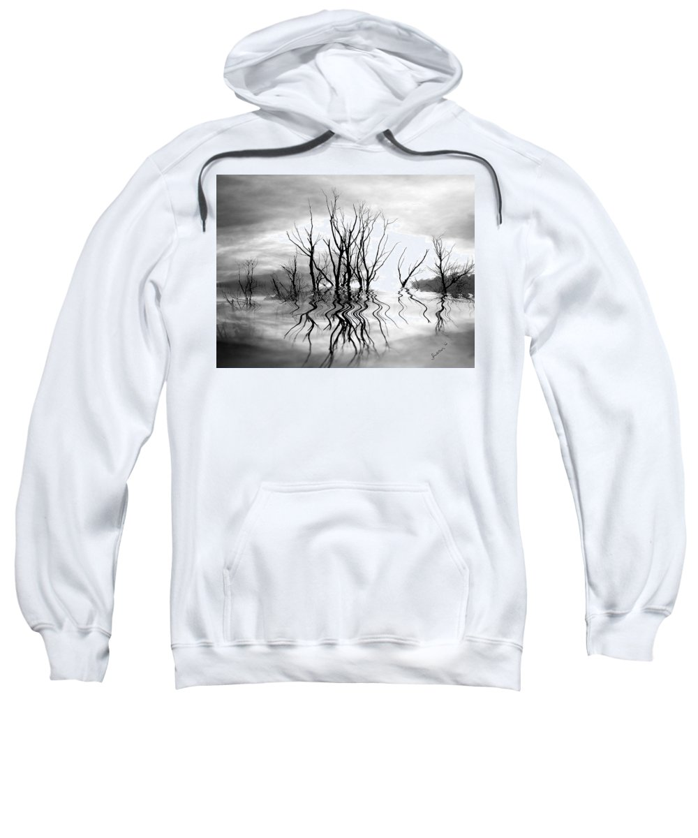 Photography Sweatshirt featuring the photograph Dead Trees Bw by Susan Kinney