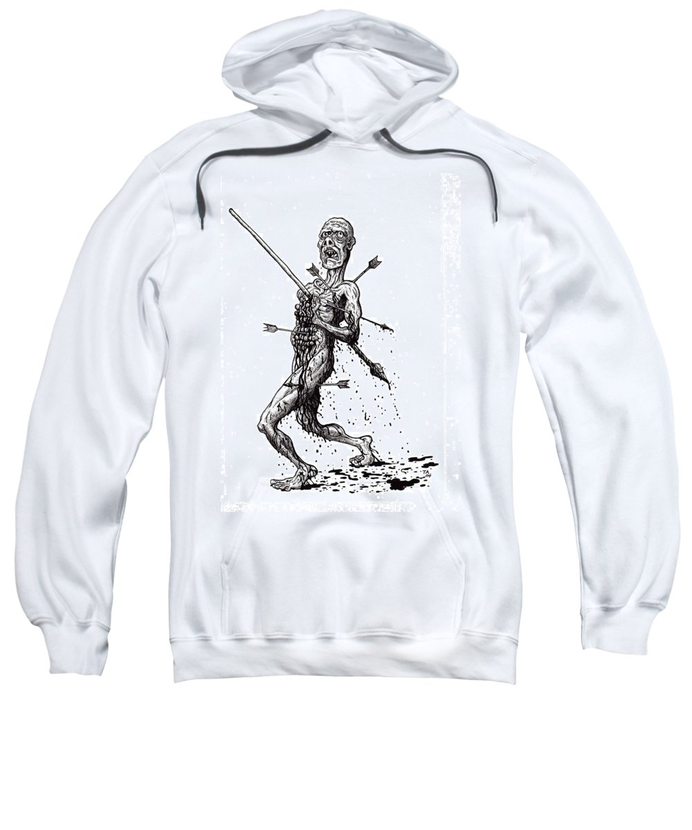 Dark Sweatshirt featuring the drawing Death March by Tobey Anderson