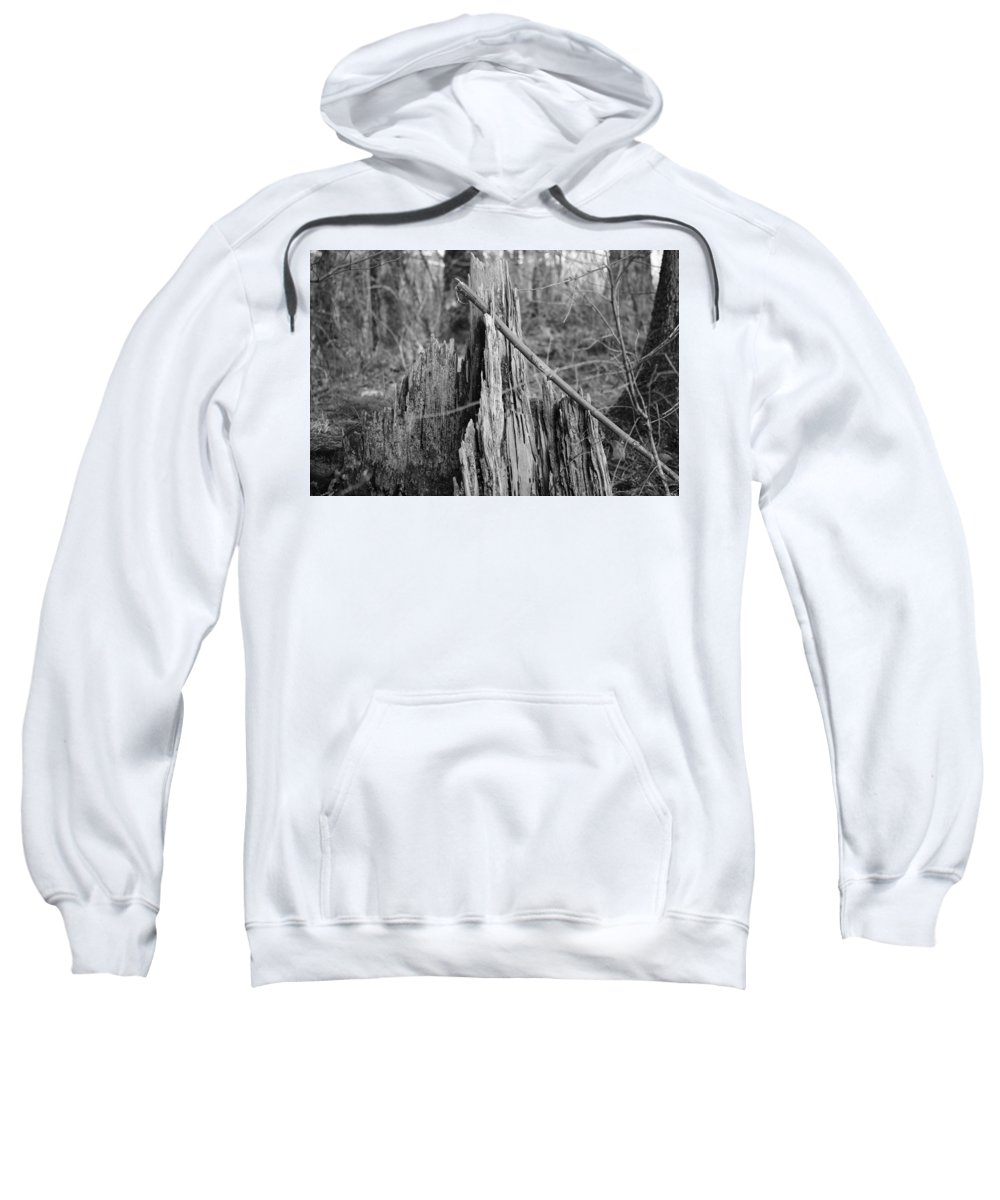 Black And White Sweatshirt featuring the photograph Decayed Stump by Jayne Borden
