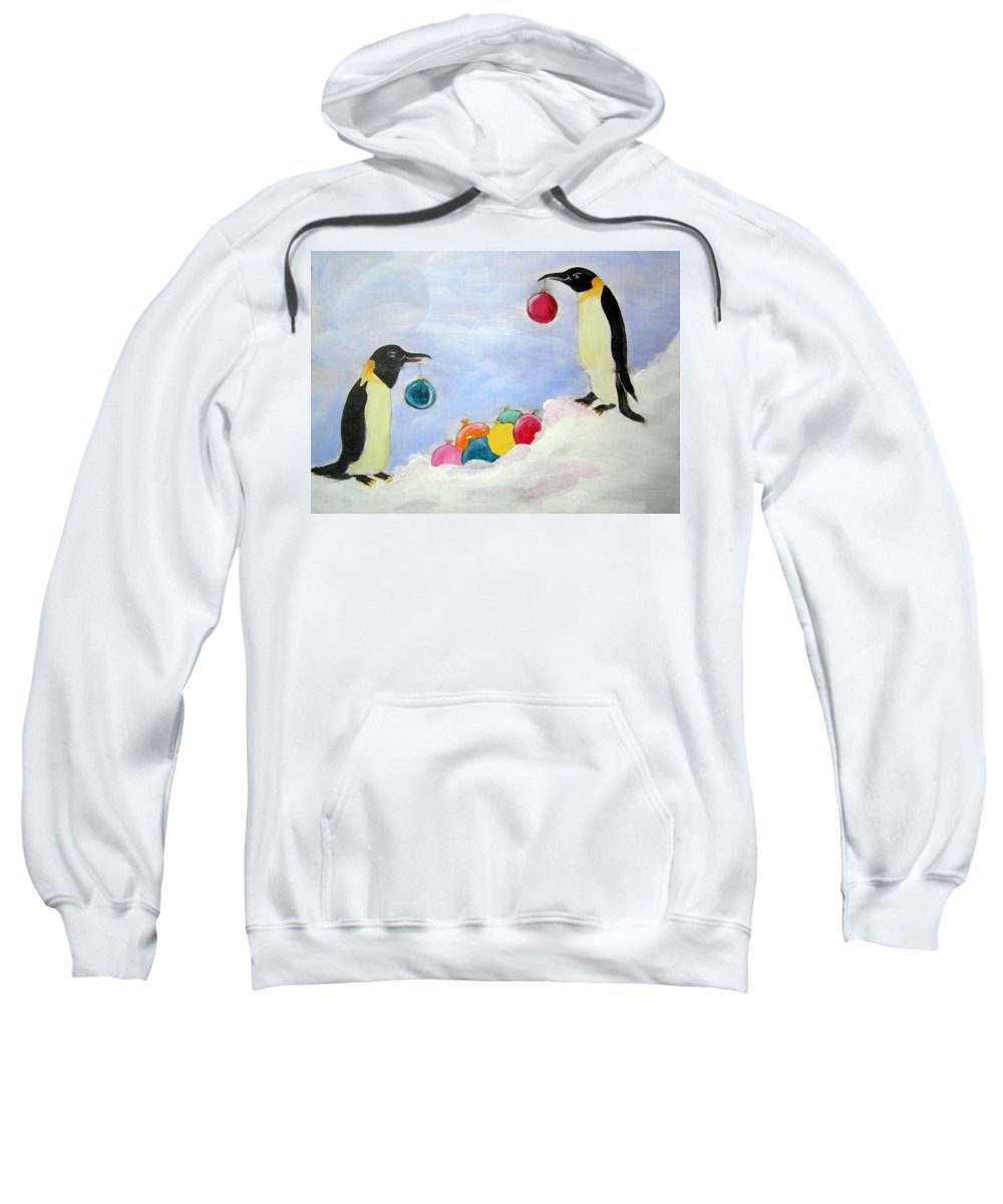Penguins Sweatshirt featuring the painting Christmas Penguins by Patricia Piffath
