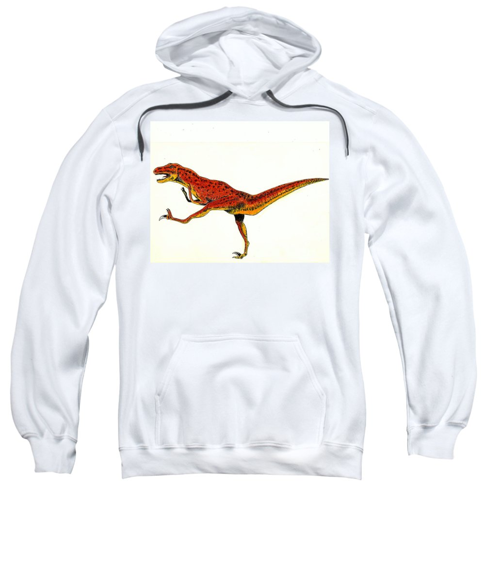 Dinosaur Sweatshirt featuring the painting Deinonychus by Michael Vigliotti