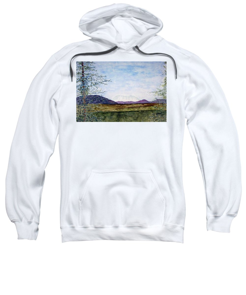 Alaska Art Sweatshirt featuring the painting Denali In July by Larry Wright