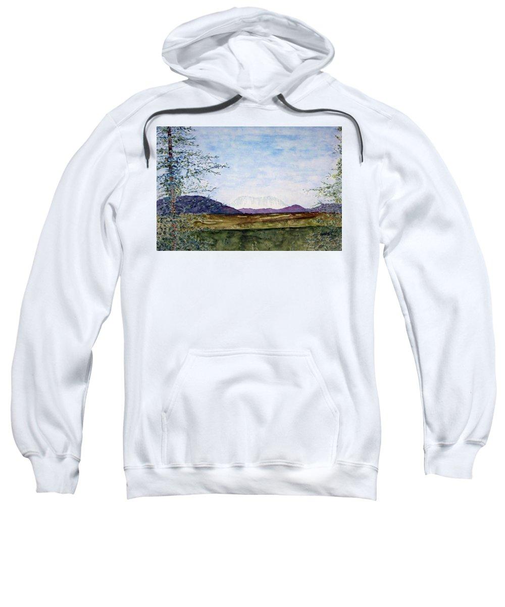 Alaska Art Sweatshirt featuring the painting Denali In July by Larry Wright
