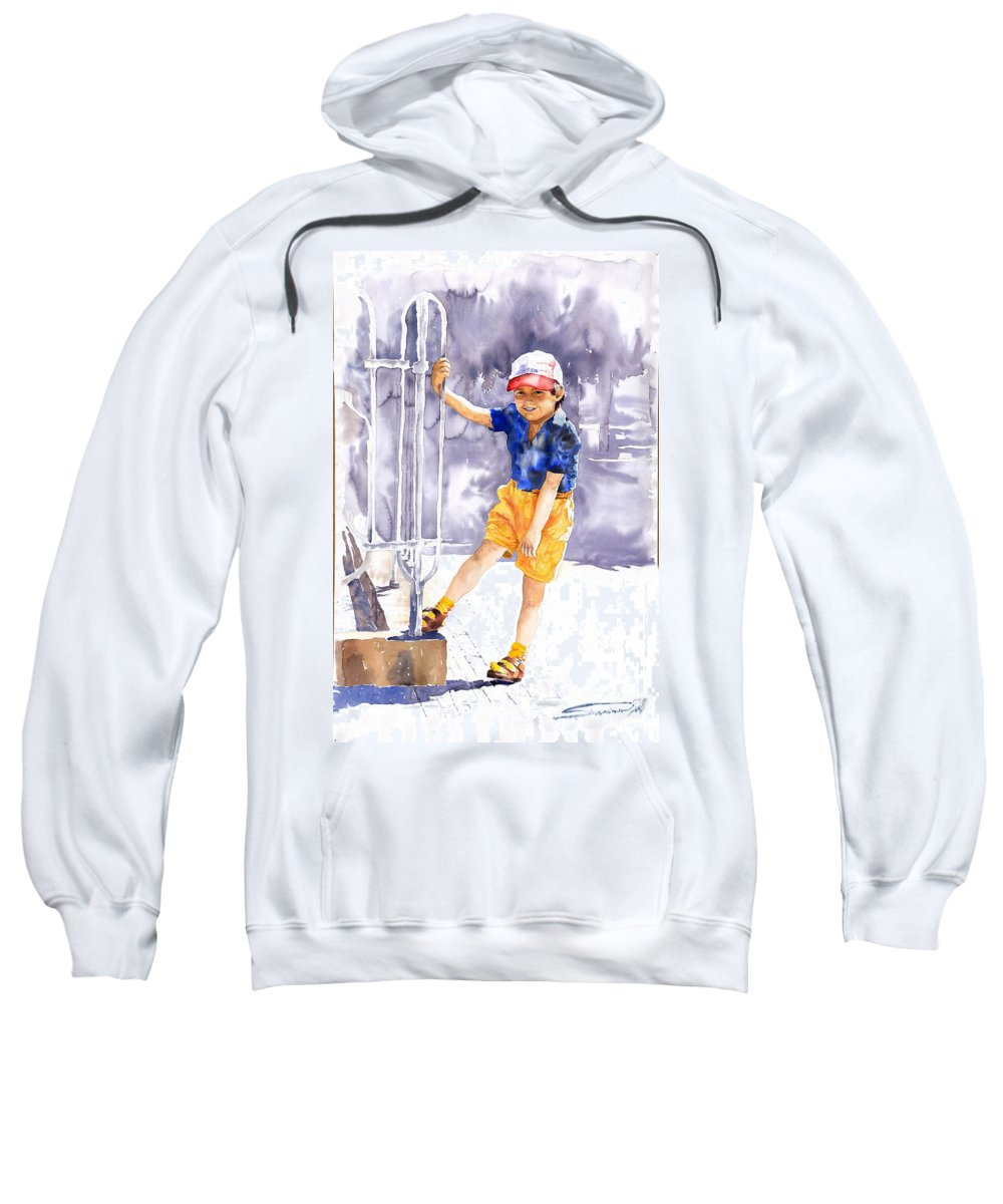 Watercolor Watercolour Figurativ Portret Sweatshirt featuring the painting Denis 02 by Yuriy Shevchuk