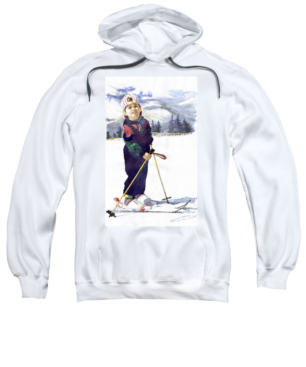 Watercolor Watercolour Figurative Ski Children Portret Realism Sweatshirt featuring the painting Denis 03 by Yuriy Shevchuk