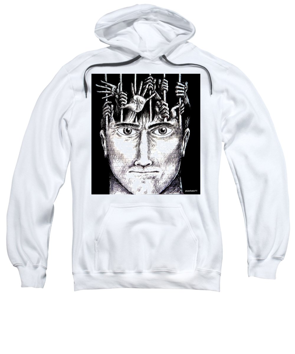 Imprisonment Sweatshirt featuring the mixed media Deprivation Of Freedom Of Expression by Paulo Zerbato