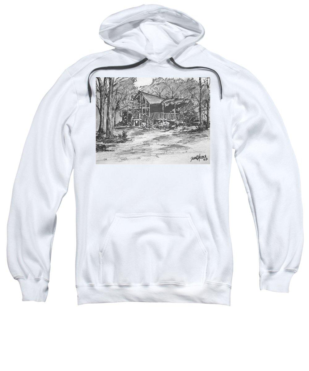 Barn Sweatshirt featuring the painting Derrick by Derek Mccrea