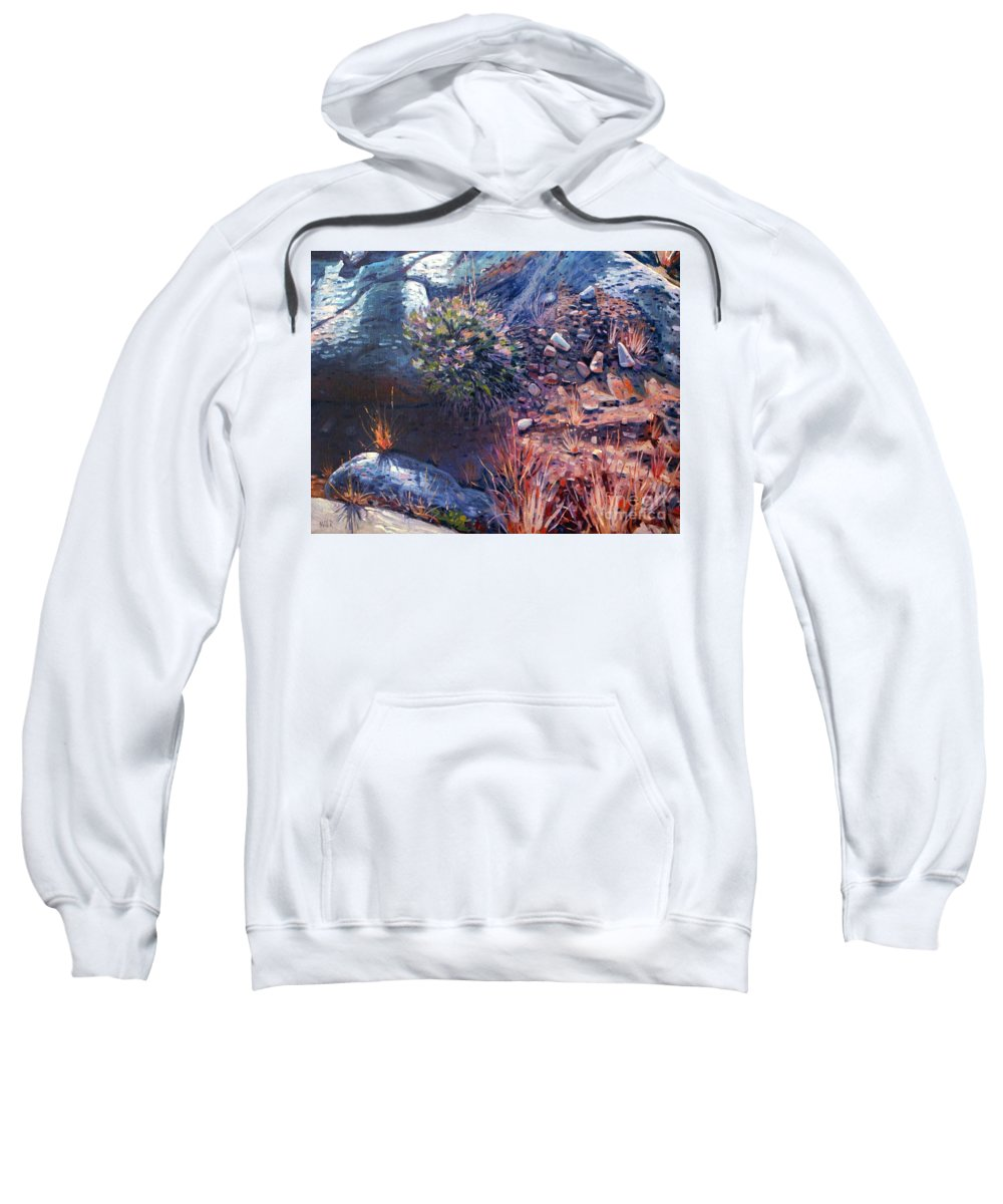 Desert Sweatshirt featuring the painting Desert Floor by Donald Maier