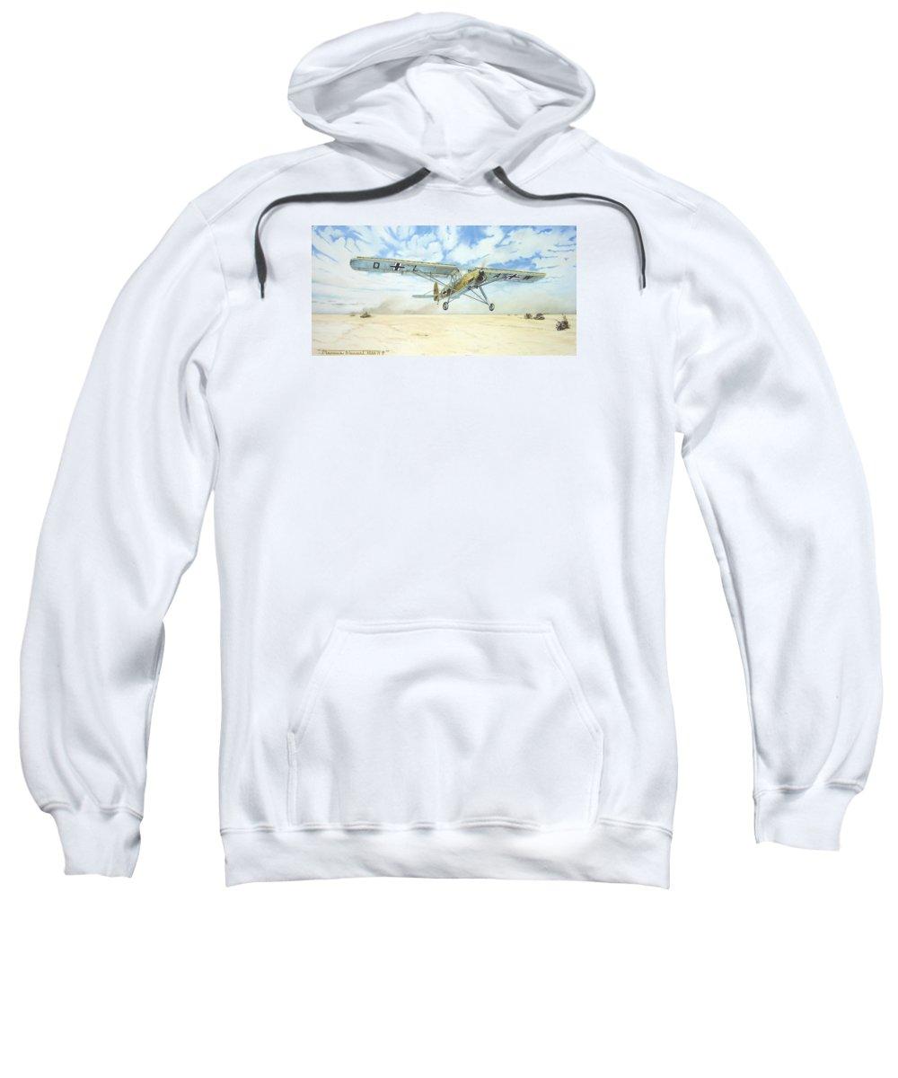 Wwii Sweatshirt featuring the painting Desert Storch by Marc Stewart