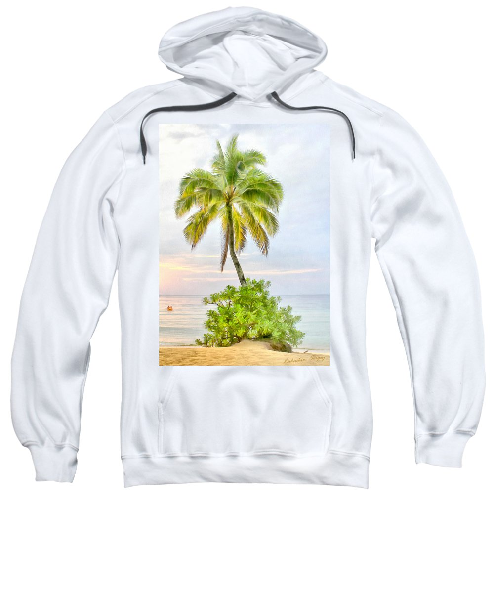 Deserted Sweatshirt featuring the painting Deserted Beach Tioman by Sergey Lukashin