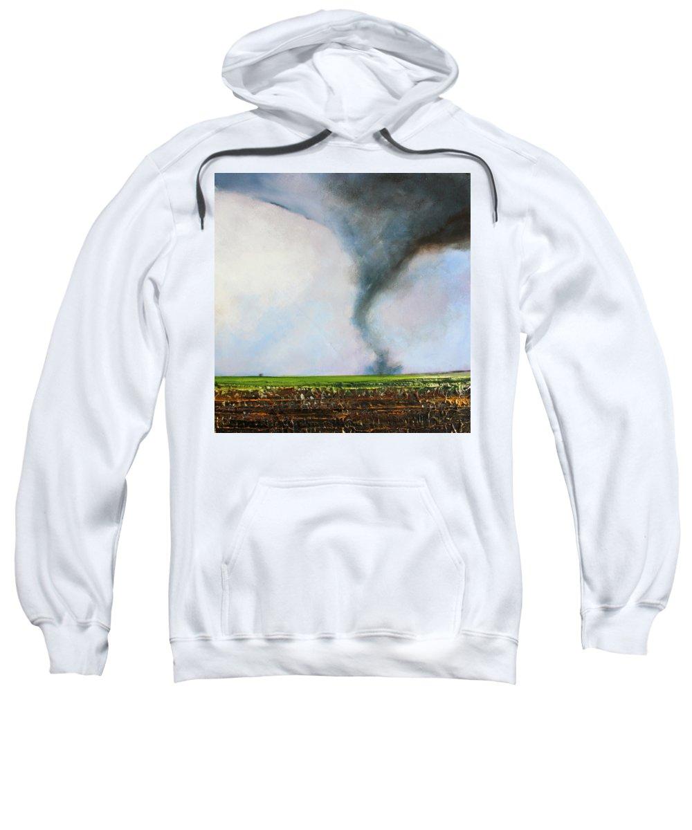 Tornado Sweatshirt featuring the painting Desolate Tornado by Toni Grote