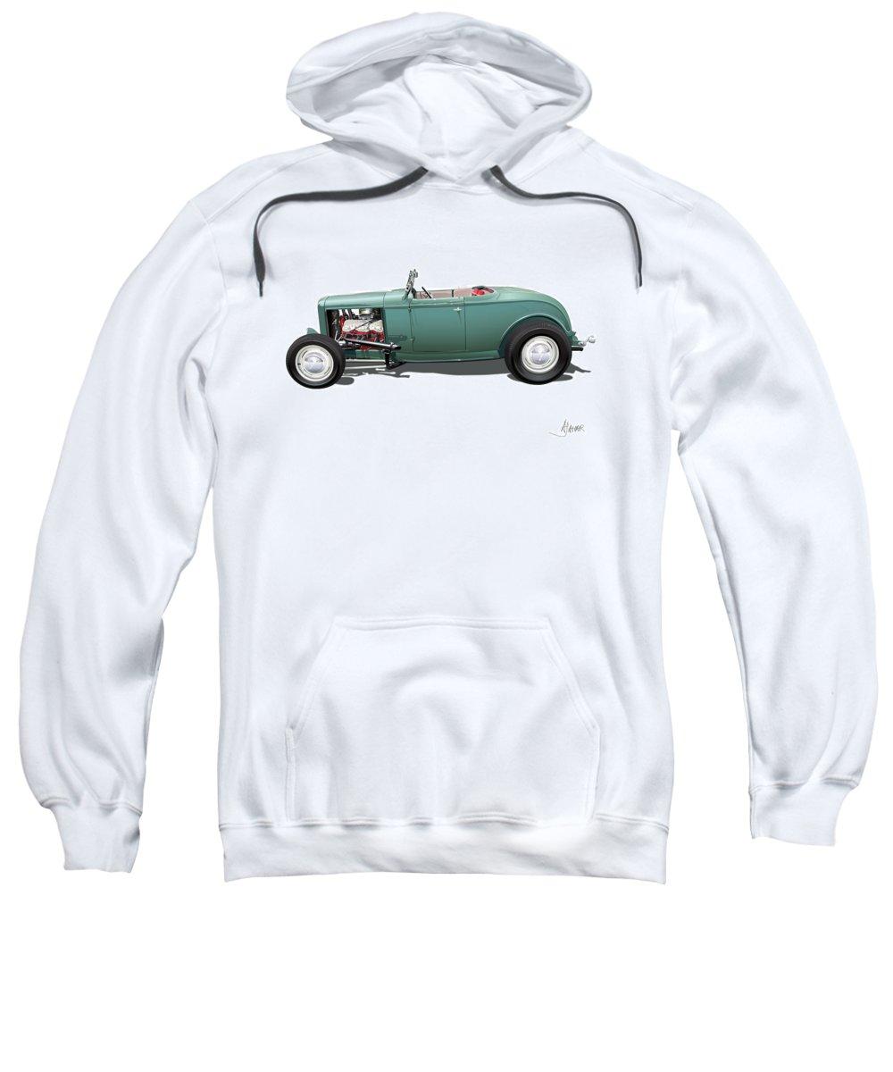 Automotive Art Sweatshirt featuring the digital art Deuce by Alain Jamar