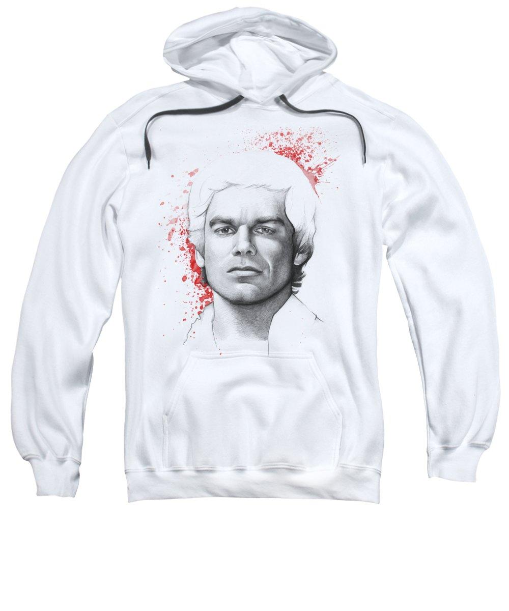 Dexter Sweatshirt featuring the drawing Dexter Morgan by Olga Shvartsur