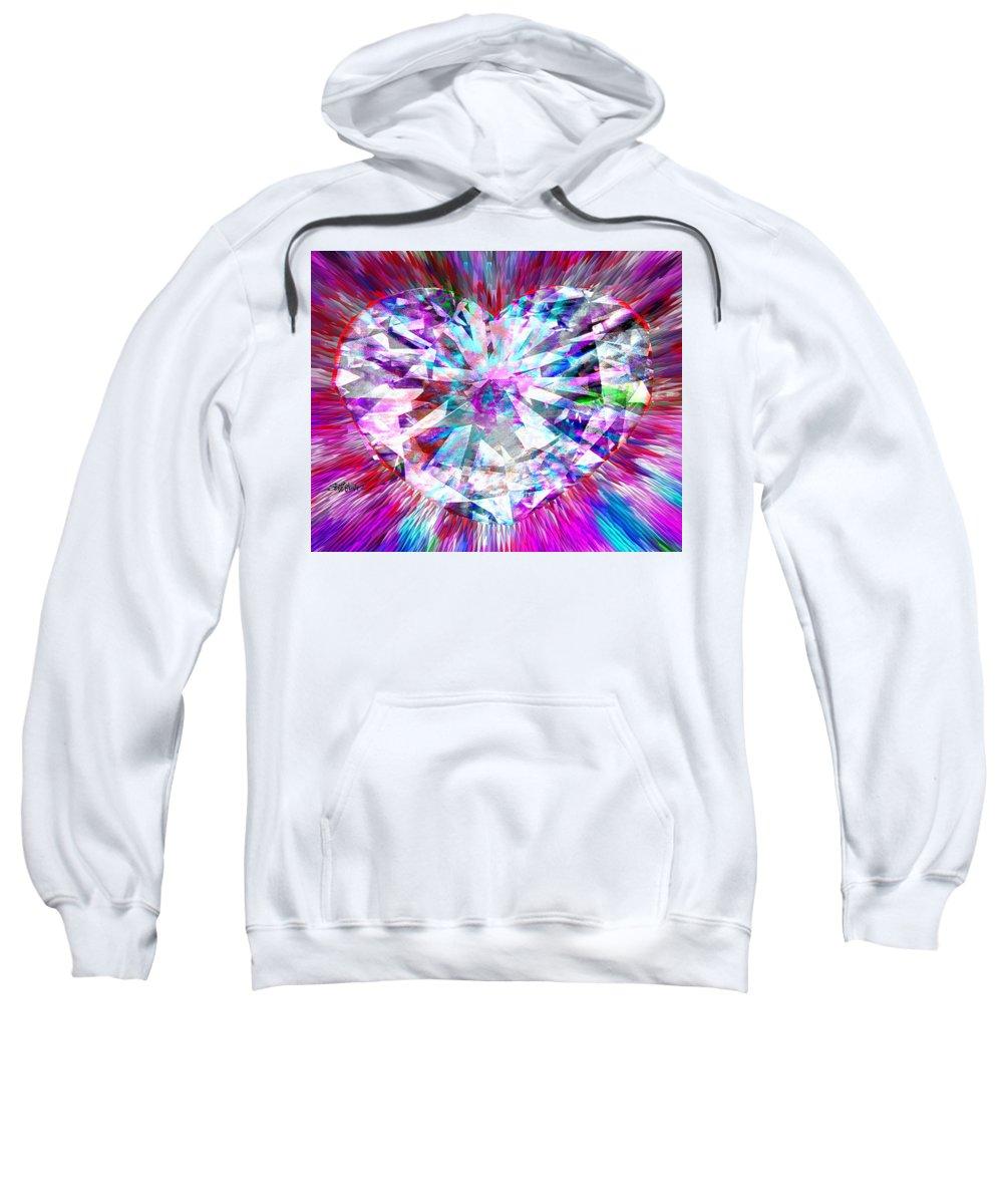 Diamond Sweatshirt featuring the digital art Diamond Heart by Seth Weaver
